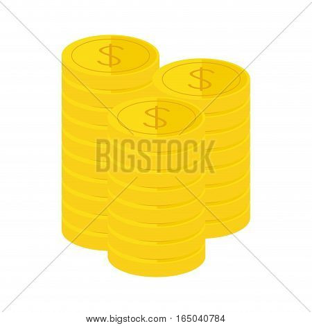 golden coins icon image vector illustration design