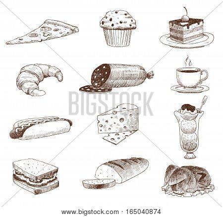 Vector hand drawn food sketch and kitchen doodle. Graphic retro cook restaurant meal menu symbols. Dinner design product ingredient illustration.