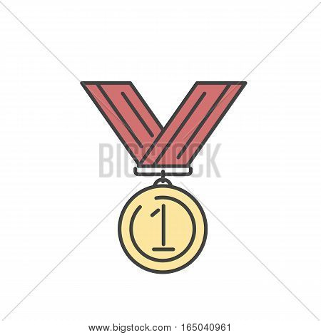 Award medal gold success winner competition symbol with ribbon outline art vector icon. Achievement champion trophy emblem victory sport ceremony sign.