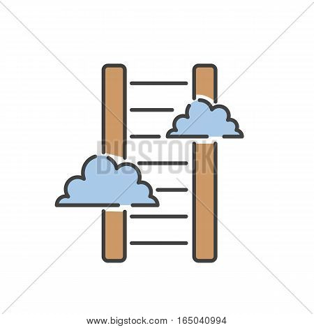 Career ladder thin icon isolated thin line black color graphic concept design vector. Stair with clouds and step way improvement tool success construction.