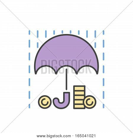 Money rain and umbrella sign icon vector isolated