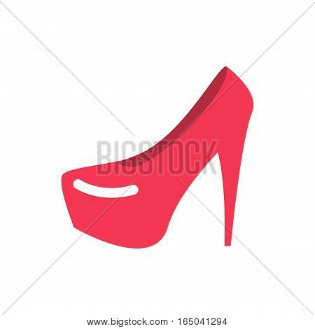 Red Female Shoes Flat. Womanish Footwear Sign Isolated