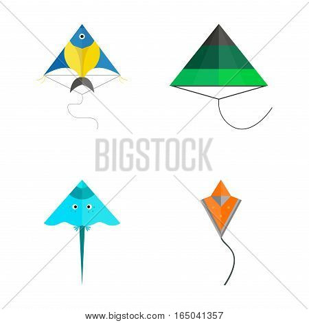 Kites icon. Flying fun air art retro fabric style vector illustration. Festival paper cartoon abstract joy toy. Color childhood happy activity.