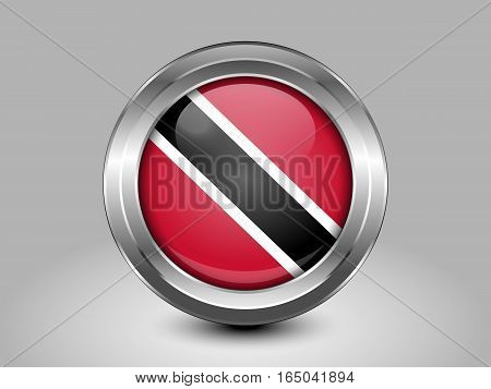 Flag Of Trinidad And Tobago. Metal And Glass Round Icon