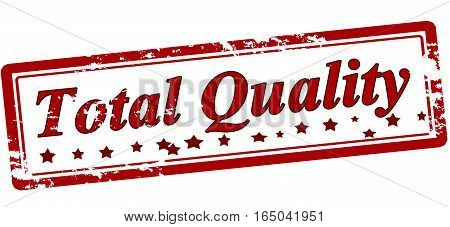 Stamp with text total quality inside vector illustration