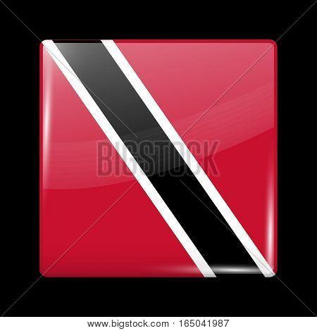 Flag Of Trinidad And Tobago. Glossy Icon Square Shape