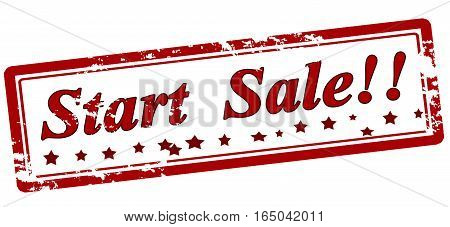 Stamp with text start sale inside vector illustration