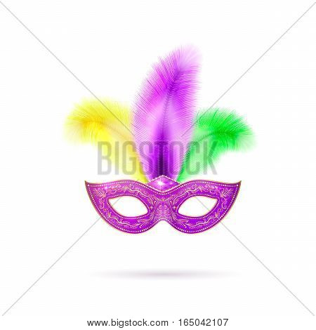 Vector illustration of violet luxury ornate Venetian carnival mask with colorful yellow, green, purple feathers and gold lace for Mardi Gras holiday