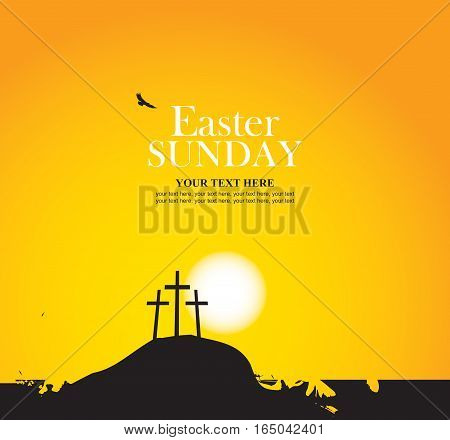 vector banner for easter with Calvary and crosses against sunset