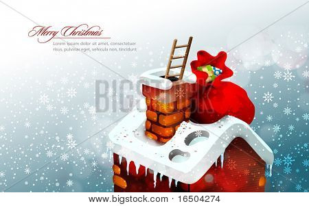 Christmas Scene with Cute House and a large gift bag that that Santa Claus left there while climbing down in the chimney on a ladder | EPS10 Greeting Cards