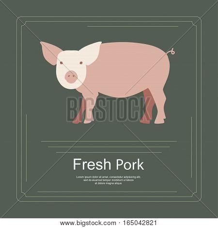 Logotipe of fresh pork in flat design. Perfect organic farm products banner or flyer. Vector illustration. eps 10