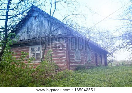 a old wooden house. A Close up