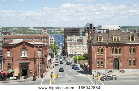 The view of Prince Street stretching down to the bay in Halifax city (Nova Scotia Canada).