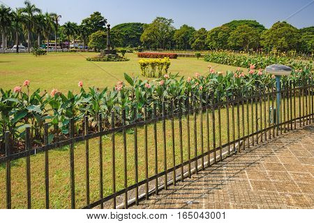 The Park around the Roman Catholic Church of St. Francis Assisi in Old Goa India.