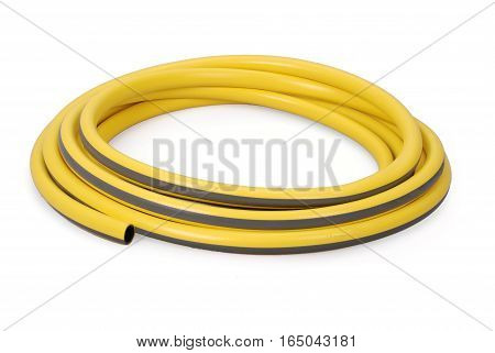 Yellow garden water hose rolled up in a tangle isolated on white