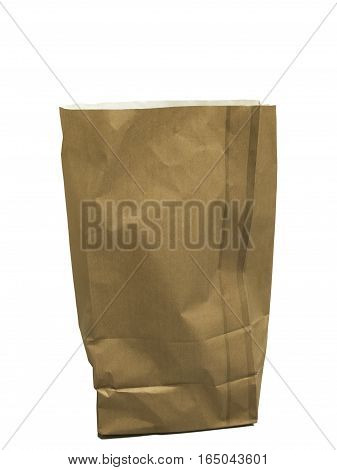 Brown recycled paper grocery bag over white background