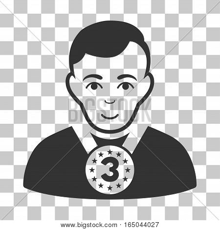 3rd Prizer Sportsman vector icon. Illustration style is flat iconic gray symbol on a chess transparent background.