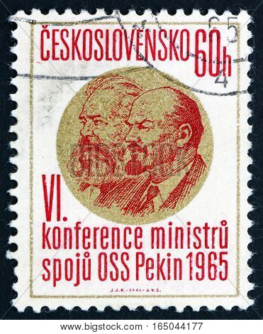 CZECHOSLOVAKIA - CIRCA 1965: a stamp printed in Czechoslovakia shows Marx and Lenin 6th Conference of Postal Ministers Peking circa 1965