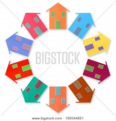 Global Village - conceptual image with houses in a circle with copy space