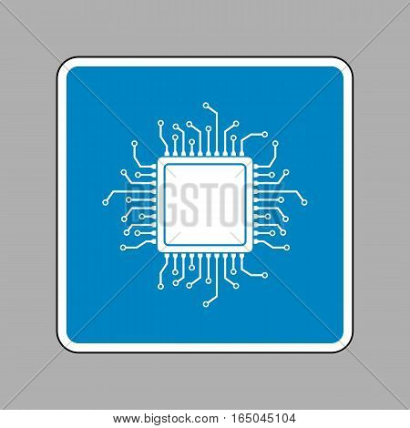 CPU Microprocessor illustration. White icon on blue sign as background.