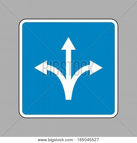 Three-way direction arrow sign. White icon on blue sign as background.