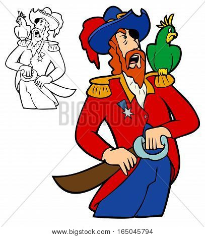 Pirate captain drawing his cutlass, while his parrot sneers.