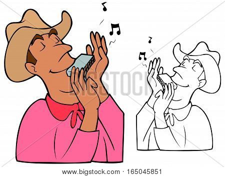 Mean with a neckerchief and cowboy hat playing a mouth organ.