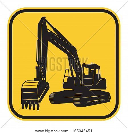 Excavator abstract emblem or sign vector illustration
