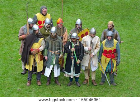 FRAMLINGHAM, SUFFOLK, ENGLAND - MAY 02, 2016: Reenactment  group dressed as  Medieval men at arms.