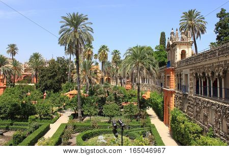 The Real Alcazar Gardens in Sevilla, Spain