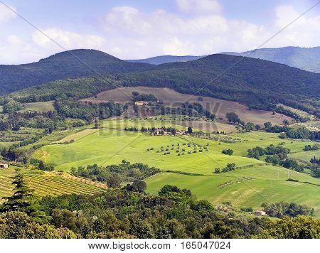 Tuscany landscape - Casale Marittimo in Pisa Tuscany Italy (month of May).