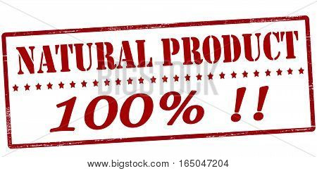 Stamp with text natural product one hundred percent inside vector illustration