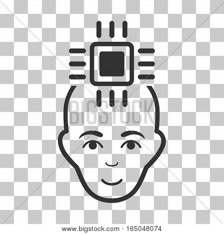 Neural Computer Interface vector pictograph. Illustration style is flat iconic gray symbol on a chess transparent background.