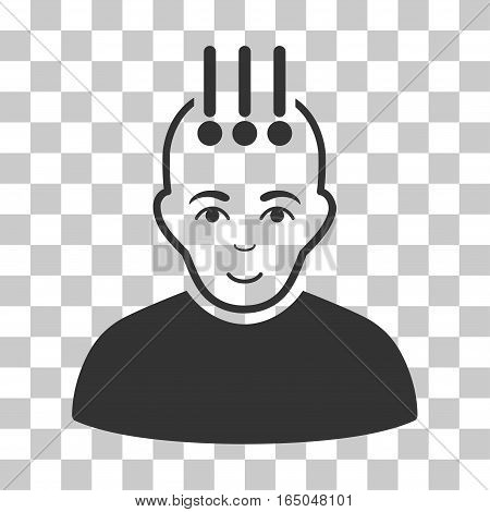 Neural Interface vector icon. Illustration style is flat iconic gray symbol on a chess transparent background.