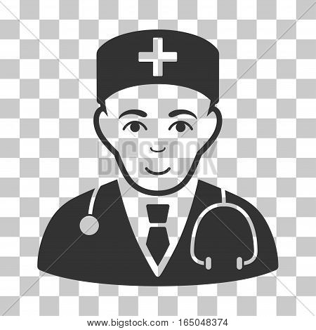 Physician vector pictogram. Illustration style is flat iconic gray symbol on a chess transparent background.