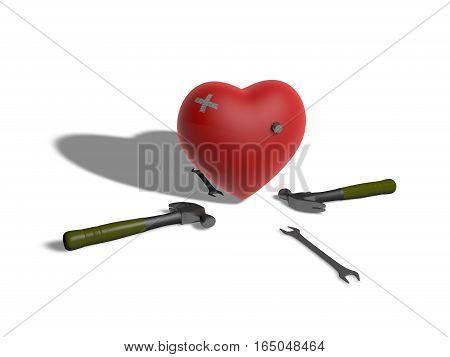 Three dimensional Injured heart  model study background