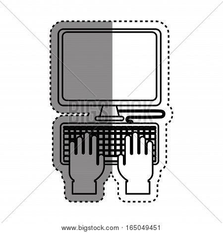 Computer with keyboard icon vector illustration graphic design