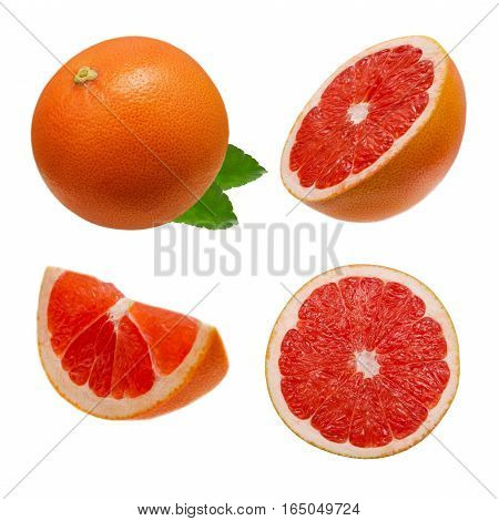 Collection of whole pink grapefruit and slices isolated on white background with