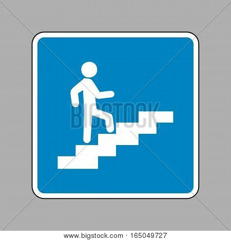 Man On Stairs Going Up. White Icon On Blue Sign As Background.