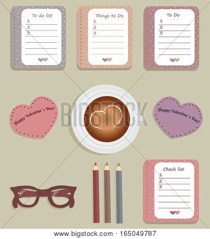 Stationery: The sheets of the planner in a cute polka dots. Lists with sigh