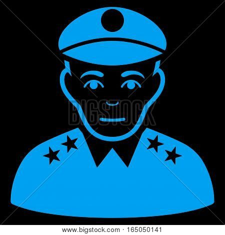 Army General vector icon. Flat blue symbol. Pictogram is isolated on a black background. Designed for web and software interfaces.