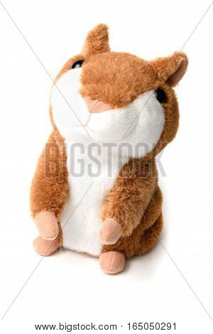 soft toy hamster isolated on white background.