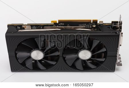 New modern gaming graphics card on white background main component for VR gaming.