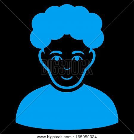 Brunet Man vector icon. Flat blue symbol. Pictogram is isolated on a black background. Designed for web and software interfaces.