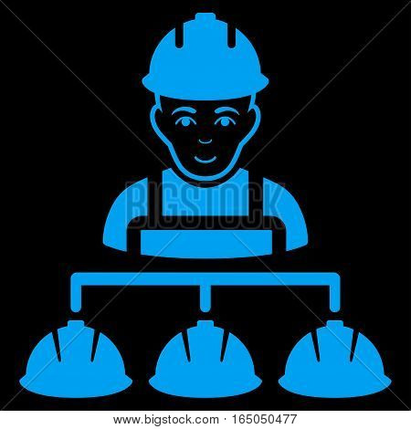 Builder Management vector icon. Flat blue symbol. Pictogram is isolated on a black background. Designed for web and software interfaces.