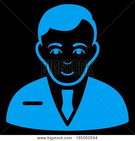 Businessman vector icon. Flat blue symbol. Pictogram is isolated on a black background. Designed for web and software interfaces.