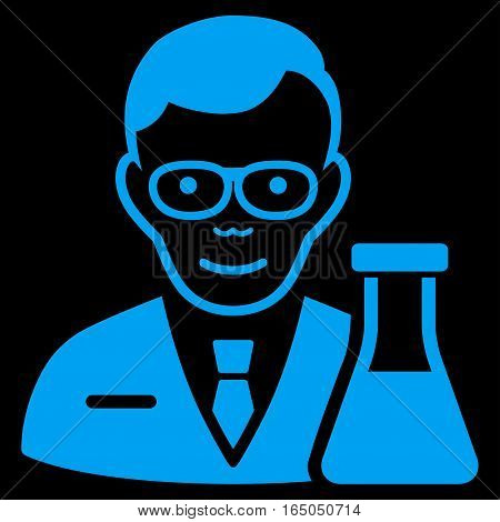 Chemist vector icon. Flat blue symbol. Pictogram is isolated on a black background. Designed for web and software interfaces.