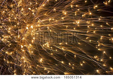 Background Of Fireworks Exploding In The Night Sky