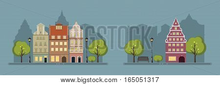Night landscape of the old town. Town facades. Vector illustration.