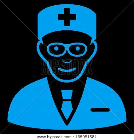 Head Physician vector icon. Flat blue symbol. Pictogram is isolated on a black background. Designed for web and software interfaces.